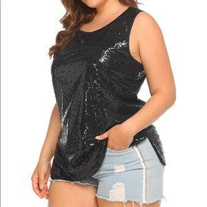 Tops - Plus Size Glitter Sequin Tank Top Sleeveless